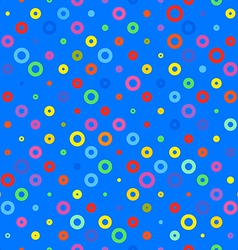blue background fabric with colored circles vector image