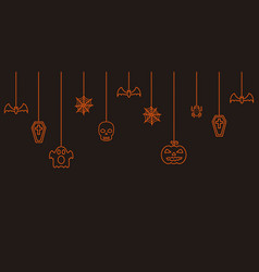 halloween hanging ornaments background vector image vector image