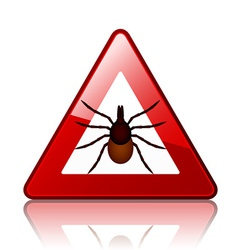 Ixodes ricinus tick road warning sign vector image vector image