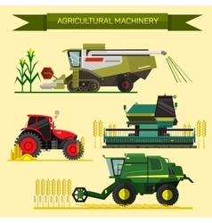 set of agricultural vehicles and farm vector image