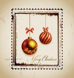Stamp and christmas balls vector image