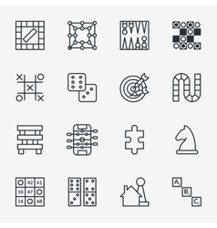 Board and party games outline icons vector image