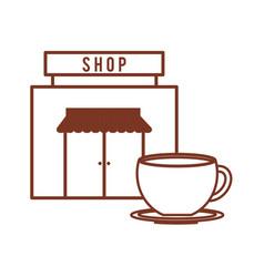 coffee shop cup beverage outline vector image