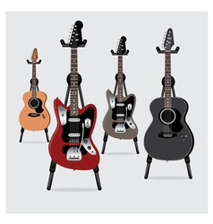 Electric Guitar and Acoustic Guitar set vector image vector image