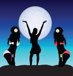 girl set on moonlight vector image vector image