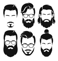Hipsters men faces collection vector