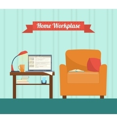 room interior with armchair and laptop vector image vector image