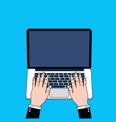 business man hands using laptop computer typing vector image vector image
