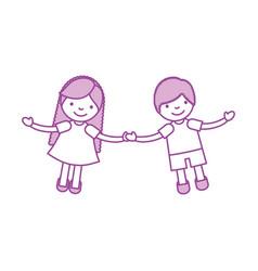 children holding hands characters vector image