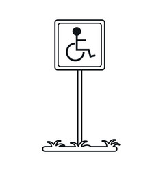 disabled person wheelchair sign road linear vector image