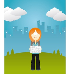 Girl holding a map vector image vector image