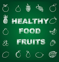healthy fruits background vector image vector image