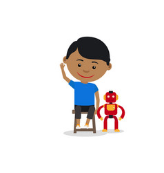 indian boy with toy robot vector image vector image