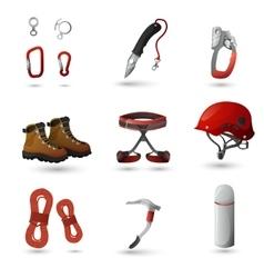 Mountain climbing icons set vector image