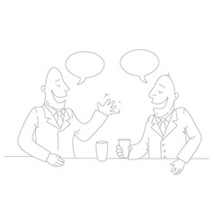 two businessman drinking tea vector image