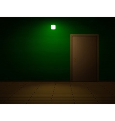 Very dark room with door vector image