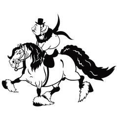 cartoon rider on heavy horse black white vector image vector image