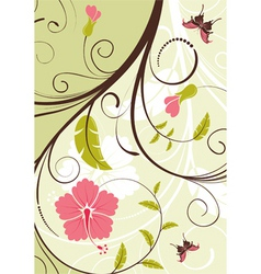 flower frame with butterfly vector image vector image