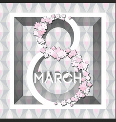 greeting card with 8 march womens day 1 vector image