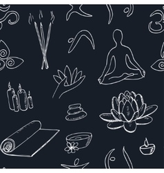 Hand drawn doodle seamless pattern yoga symbols vector image vector image