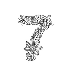 Number 7 coloring book for adults vector