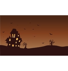 Silhouette of castle and bat Halloween vector image vector image