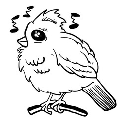simple black and white funny looking bird vector image vector image