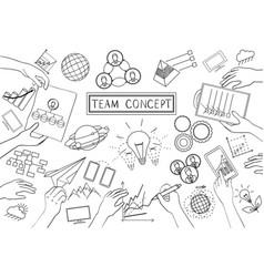 team concept line design vector image