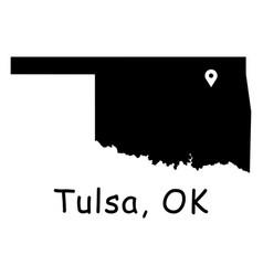 1314 tulsa ok on oklahoma state map vector image