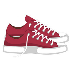 A pair of red fashionable woman s shoes snickers vector