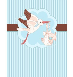 A place card a stork delivering a newborn baby vector