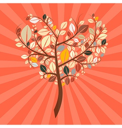 Abstract Retro Heart Shaped Tree vector image