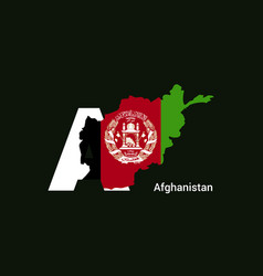 Afghanistan initial letter country with map vector