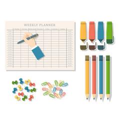 agenda list business paper clipboard in vector image