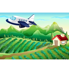 An airplane above the farm vector image
