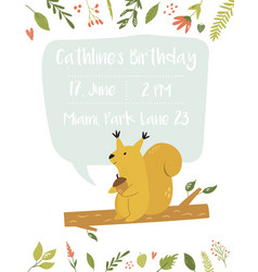 babirthday invitation card funny cute squirrel vector image