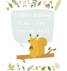 baby birthday invitation card funny cute squirrel vector image