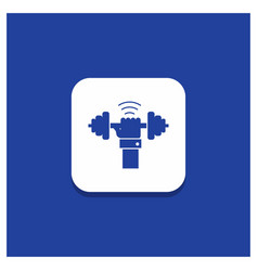 Blue round button for dumbbell gain lifting power vector