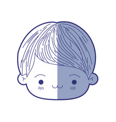 blue shading silhouette of kawaii head of little vector image