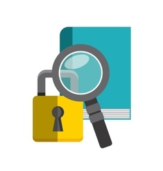 Book lupe and padlock icon Copyright design vector