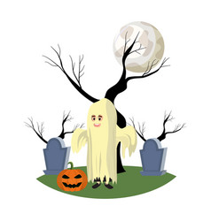Boy with ghost costume in the cementery with vector