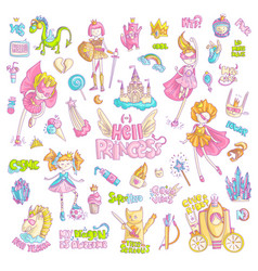 Brave tomboy hell princess cartoon set vector
