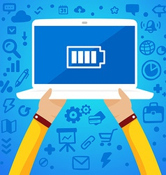Bright two male hands holding a laptop with vector image