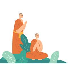 Buddhism monks wearing orange robes praying vector