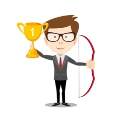 Business man proudly standing holding up winning vector