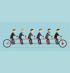 Business people riding on a five-seat bicycle vector