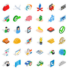 business planning icons set isometric style vector image