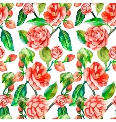 Camellia Rose Seamless floral pattern vector