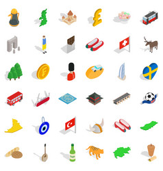 Castle icons set isometric style vector