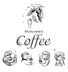 Characters loving coffee vector